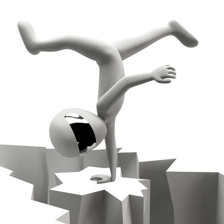 3d man standing on one hand  3d image  On a white background