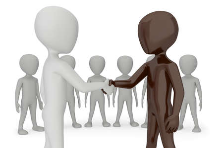 small group of people: Two 3d humans give their hand for handshake 3d image  On a white background