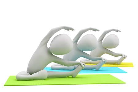 3d groep van mensen die yoga-oefeningen 3D beeld op een witte achtergrond