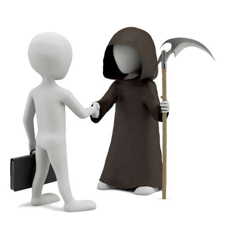 Shaking hands with death  3d image  On a white background  Stock Photo - 17437836