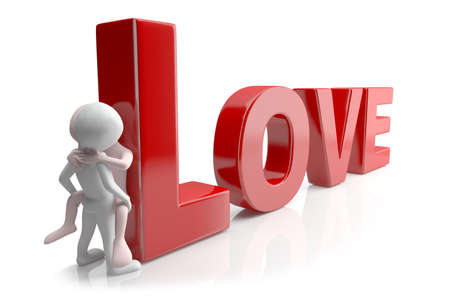 Love  3d image  On a white background  Stock Photo