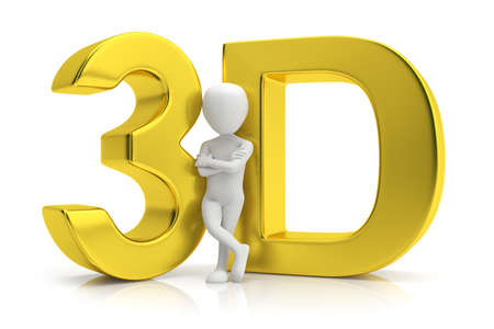 3D gold and human  3d image  On a white background