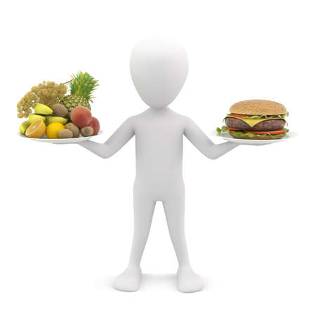3d small people: 3d man holding fruit and hamburger  3d image  On a white background
