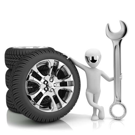 3d little human- car mechanic  3d image  On a white background  Stock Photo