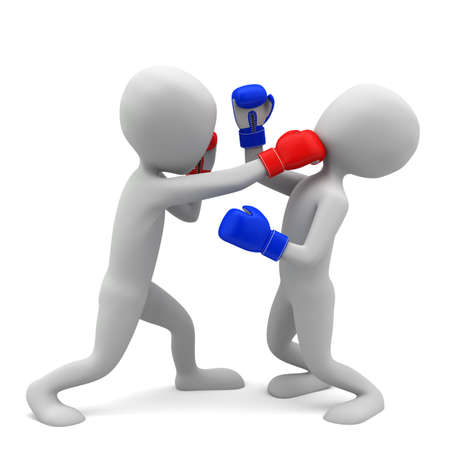 3d small people boxing  3d image  On a white background  Stock Photo