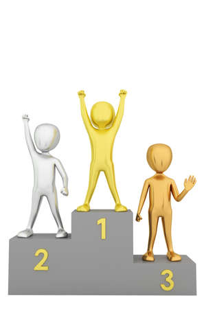 Podium for the winners  3d image  On a white background