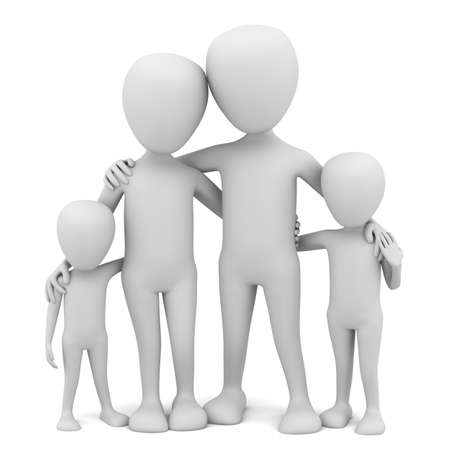 3d small people - family  3d image  On a white background