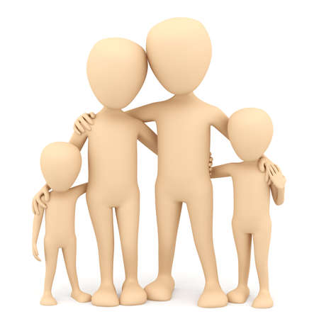 Family  3d image  On a white background