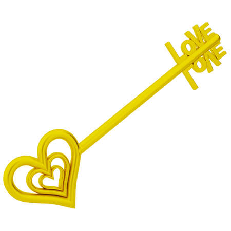 The key is love  3d image  On a white background