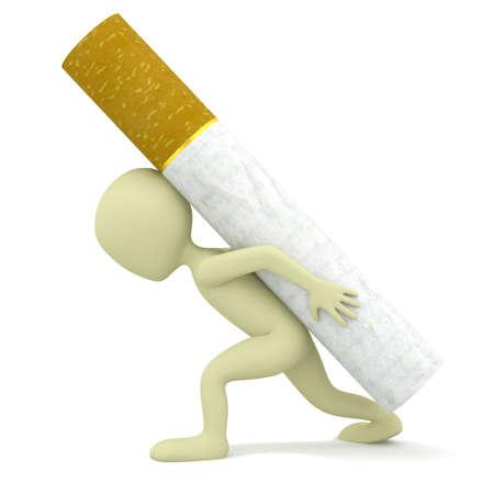 3d kleine persoon draagt een zware sigaret 3D beeld op een witte achtergrond Stockfoto