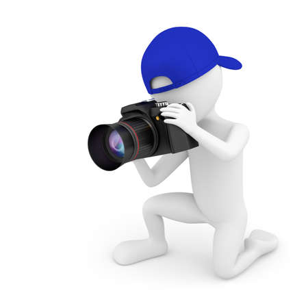3d small people: 3d small person photographer in the blue baseball cap  3d image  On a white background