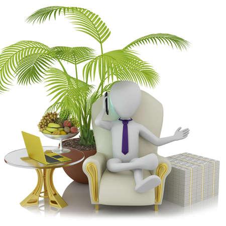 Succesvolle persoon 3D beeld op een witte achtergrond