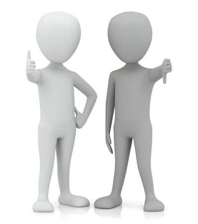 3d kleine mensen - ja en nee 3D beeld op een witte achtergrond