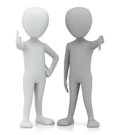 no people: 3d small people - yes and no  3d image  On a white background Stock Photo