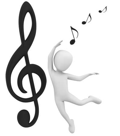 3d note and dance  3d image  On a white background