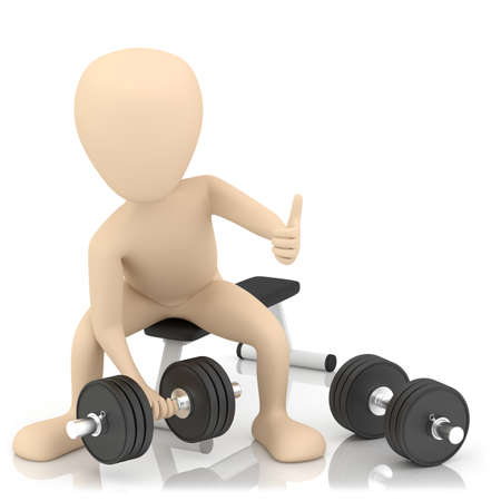 3d small person lifts weights  3d image  On a white background  Stock Photo
