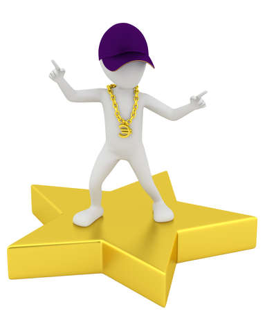 3d small person - a star  3d image  On a white background