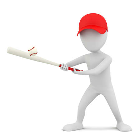 3d small person - playing baseball  3d image  On a white background