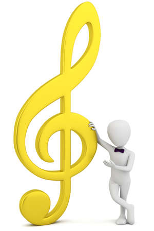 3d small person - golden music key  3d image  On a white background