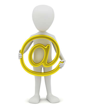 3d small person - golden email. 3D image. On a white background. Stock Photo