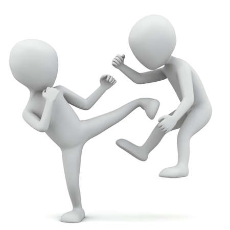 3d small people fighting. 3D image. On a white background. Stock Photo - 17961269