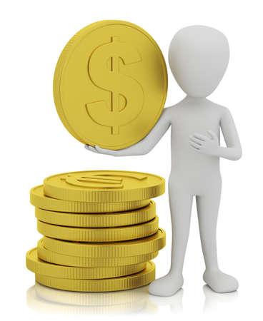 3d kleine mensen - gouden munten. 3D-beeld. Op een witte achtergrond.