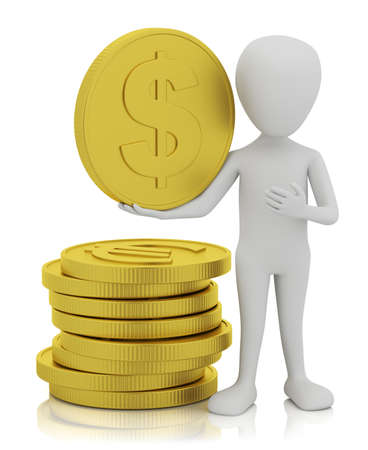 3d small people - gold coins. 3D image. On a white background. Stock Photo