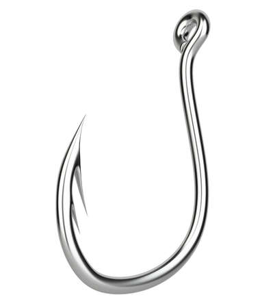 hooks: Sharp hook. 3D image. On a white background. Stock Photo
