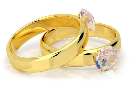 Wedding rings with diamond. 3d image. On a white background. Stock Photo