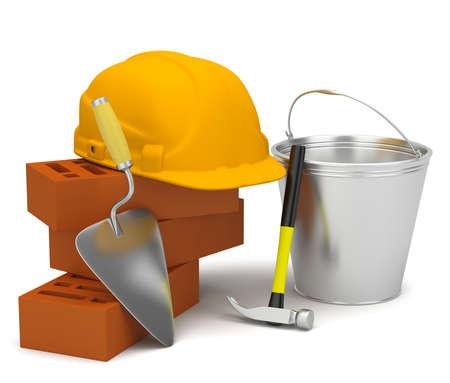 Helm, bakstenen, troffel en een hamer met een emmer. 3d beeld. Op een witte achtergrond. Stockfoto