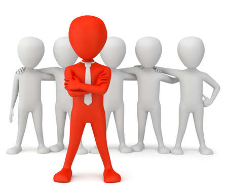 The leader of the team. 3d image. On a white background. Stock Photo