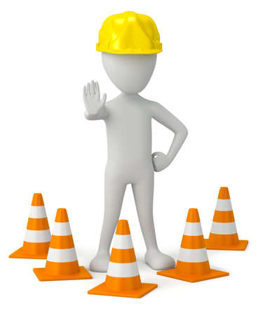 3d small person in a helmet-traffic cone. 3d image. On a white background. photo