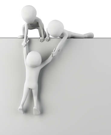 3d small people help to get up. 3d image. On a white background. photo