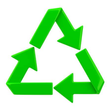 Recycling symbol.3D beeld. Op een witte achtergrond. Stockfoto