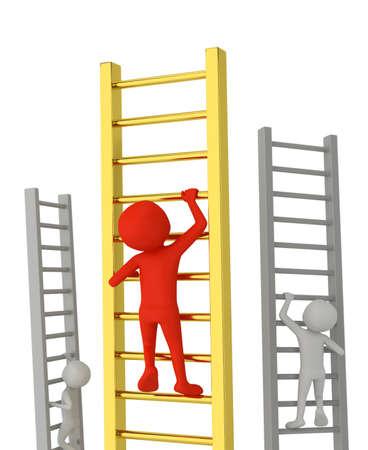 De trap op naar succes. 3D-beeld. Op een witte achtergrond.