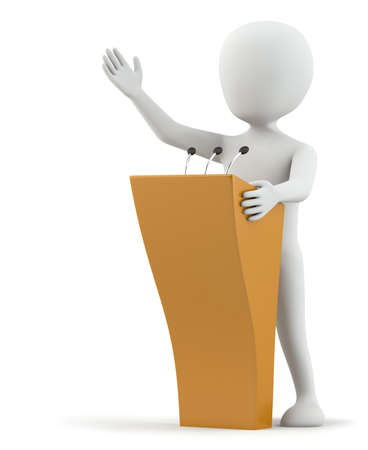 3d small person speaks at the podium. 3D image. On a white background.