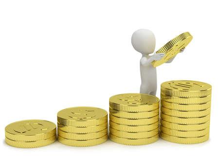 3d kleine mensen - verhoogt de winst. 3D-beeld. Op een witte achtergrond. Stockfoto