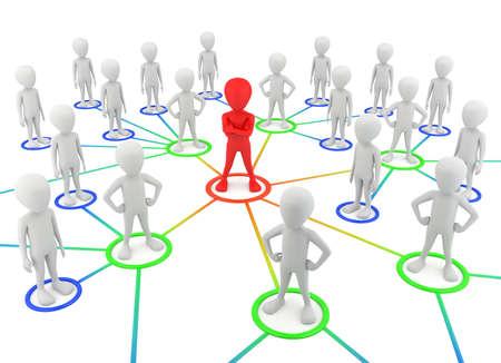 3D kleine mensen - partners van het netwerk. 3D-beeld. Op een witte achtergrond.