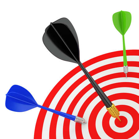 Successfully hit the target. 3D image. On a white background. Stock Photo