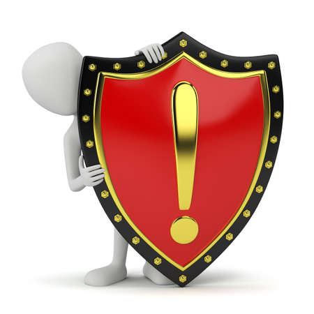 3d small person and shield.3D image. On a white background.