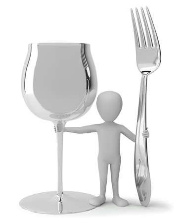3d kleine mensen - het houden van een glas wijn en een vork. 3D-beeld. Op een witte achtergrond.