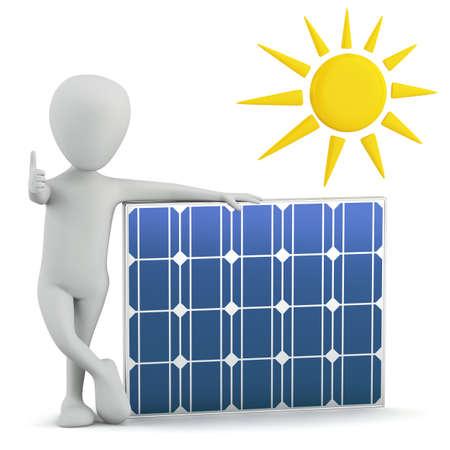 3d kleine mensen - zonnepaneel. 3D-beeld. Op een witte achtergrond.