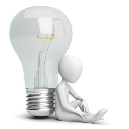 3d kleine persoon en de lamp. 3D-beeld. Op een witte achtergrond. Stockfoto