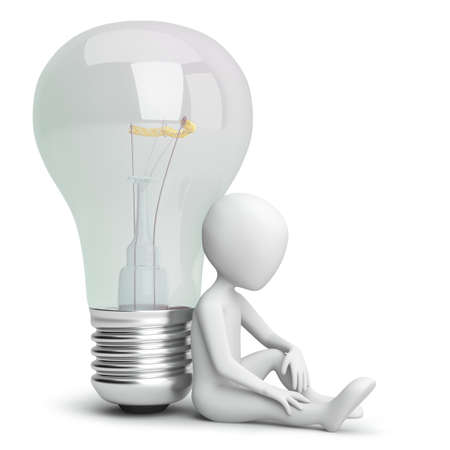 3d small person and the bulb. 3D image. On a white background. Stock Photo - 18496966
