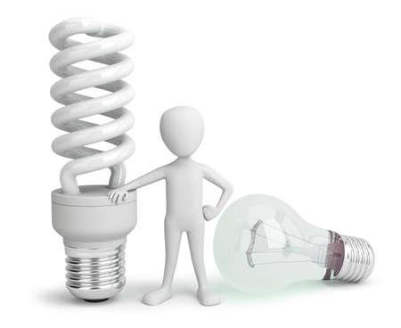 3d kleine persoon - normaal en spaarder Lightbulb.3D beeld. Op een witte achtergrond.