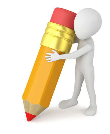 3d small people - big pencil. 3D image. On a white background.