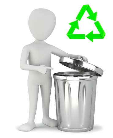 3d small people - garbage recycling. 3D image. On a white background.