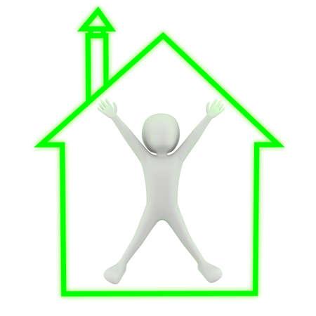 3d kleine mensen - mijn huis! 3D-beeld. Op een witte achtergrond.