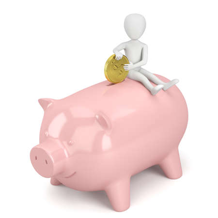 3d small person sitting on a piggy bank. 3d image. On a white background.