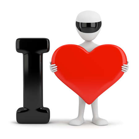 3d small person holding a red heart. 3d image. On a white background.